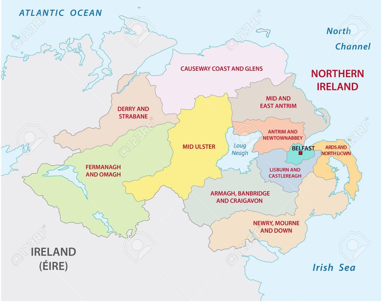 Mapa Irlanda Del Norte.Irlanda Del Norte Mapa Administrativo Y Politico