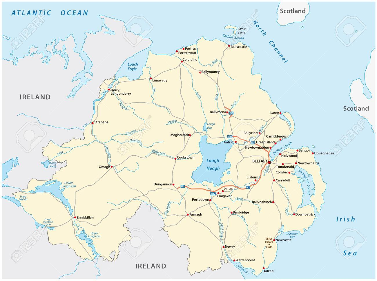 Detailed Road Map Of Ireland.Detailed Road Map Of The British Province Of Northern Ireland