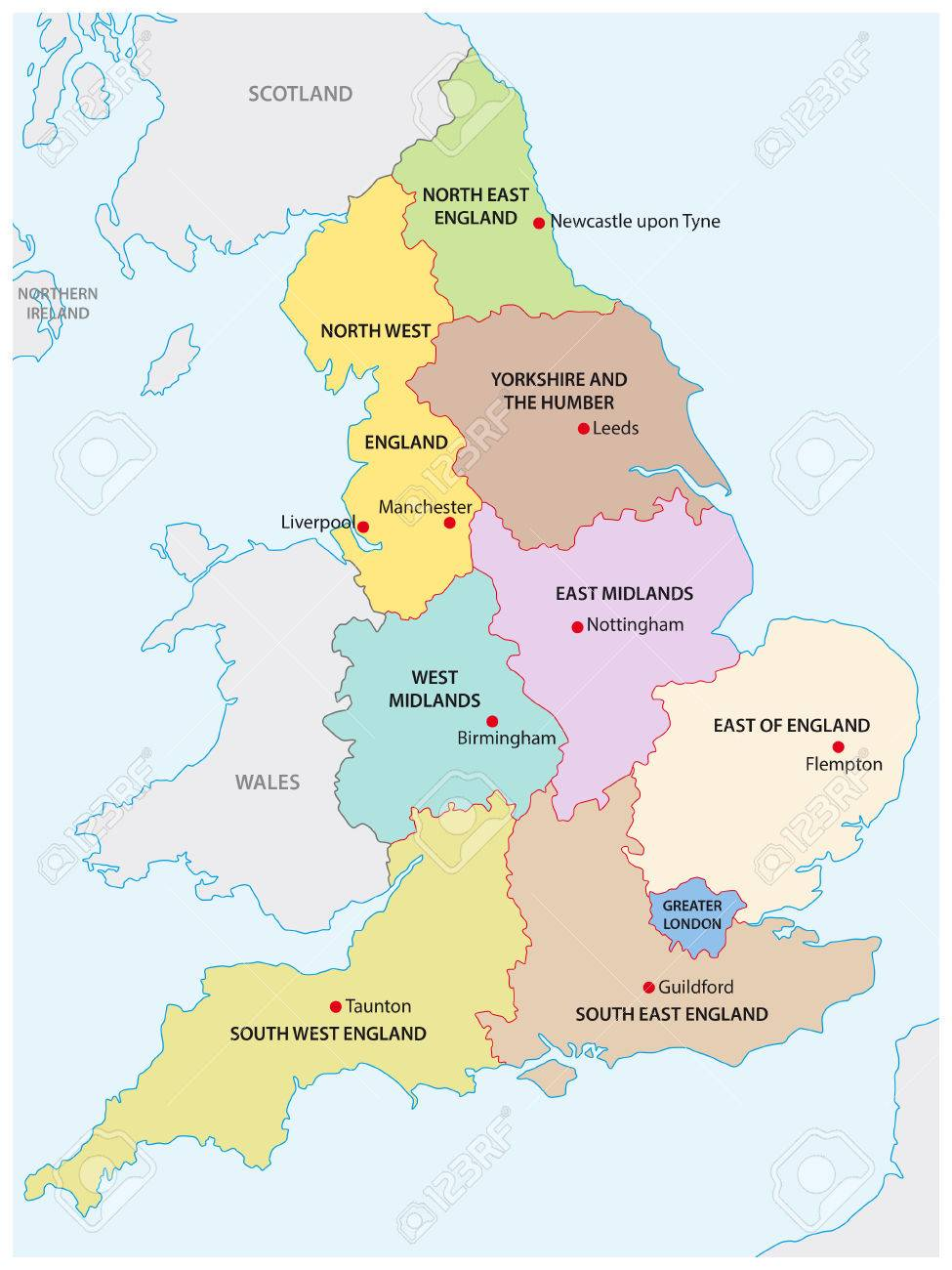 Outline Map Of The Nine Regions Of England Royalty Free Cliparts