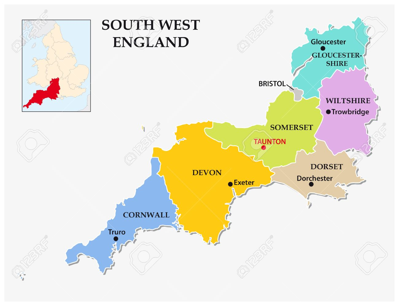 South West England Administrative And Political Map Royalty Free
