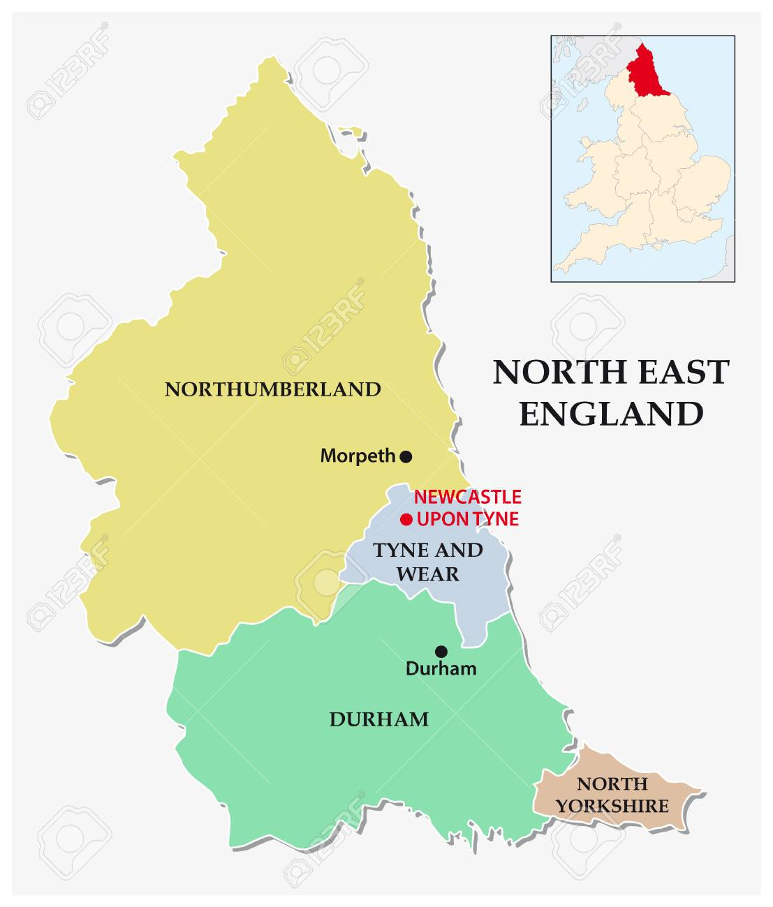North East England Administrative And Political Map Royalty Free