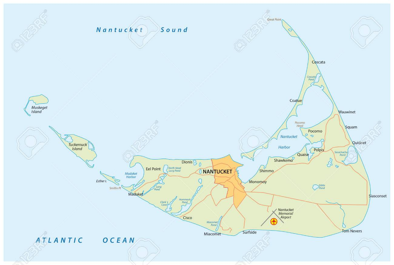 Map Of Nantucket Iceland In The Us State Of Massachusetts Royalty - Massachusetts-on-the-us-map