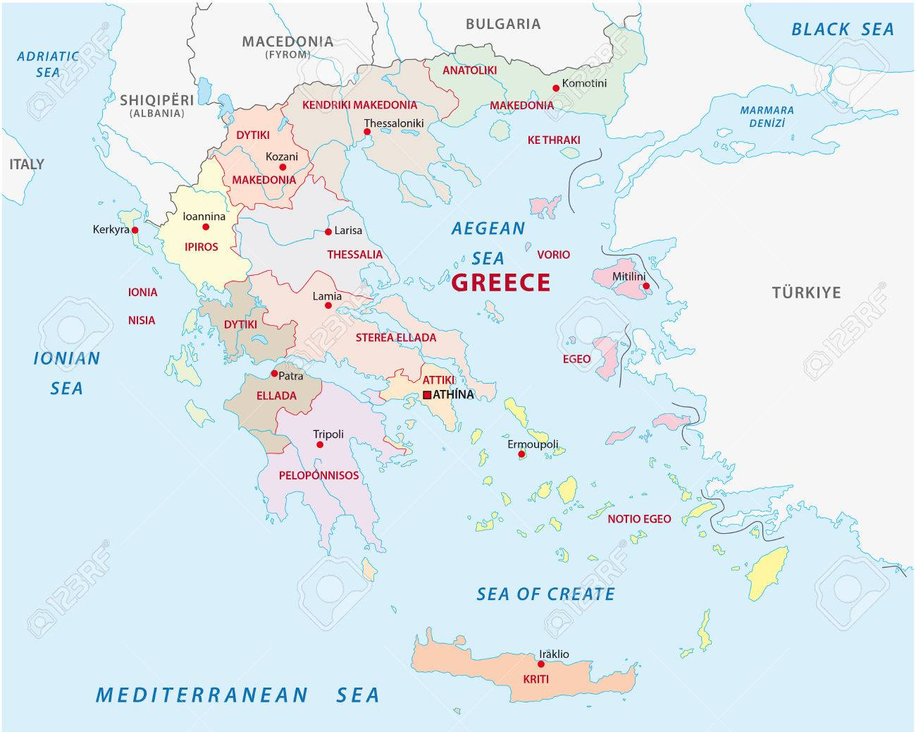Greece Administrative And Political Map Royalty Free Cliparts