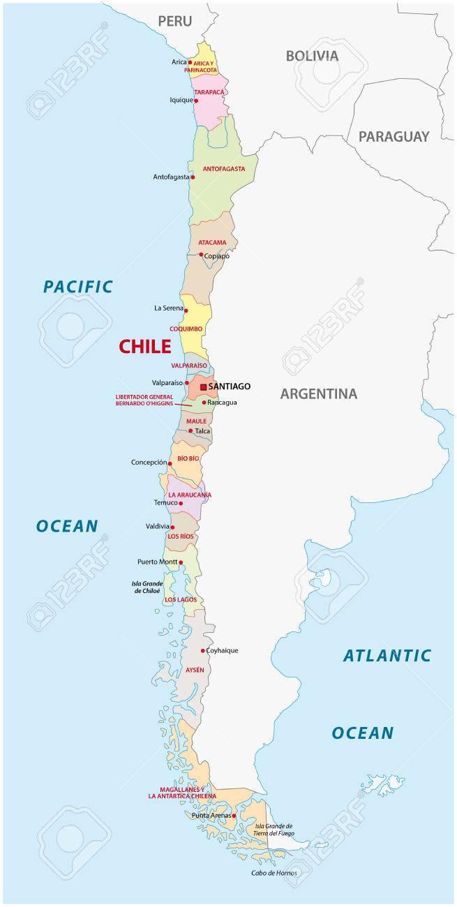 Mapa Politico De Chile.Mapa Politico Y Administrativo De Chile