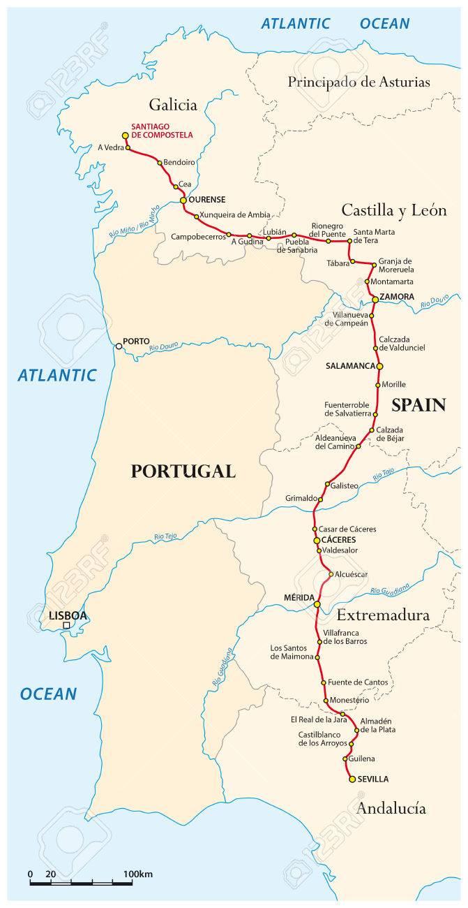 Mapa Del Camino De Santiago Desde Sevilla A Santiago De Compostela Vía De La Plata España Ilustraciones Vectoriales Clip Art Vectorizado Libre De Derechos Image 69774728