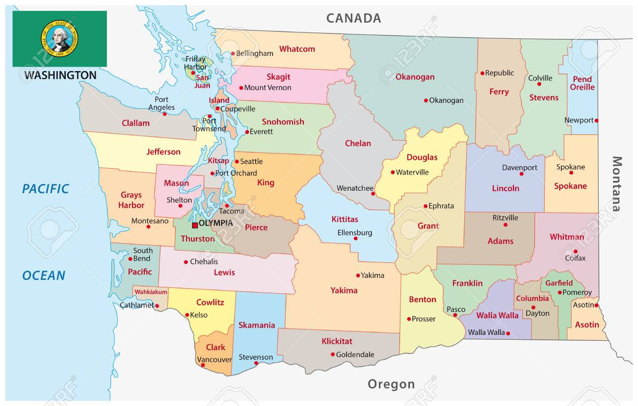 69823116 Administrative And Political Vector Map Of The Us State Of Washington With Flag