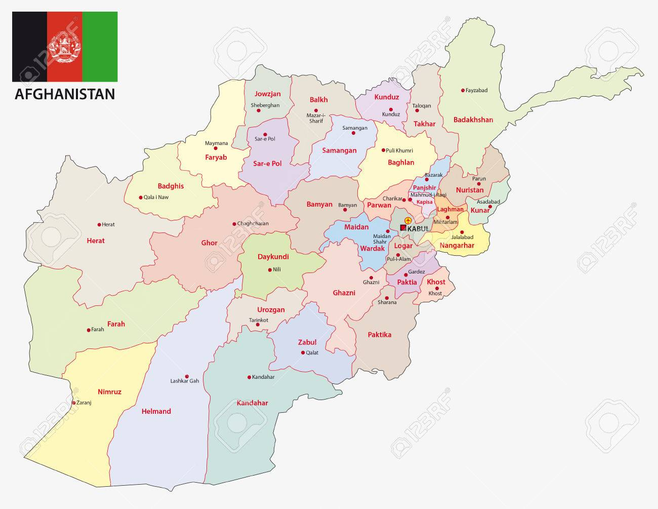 Afghanistan Administrative And Political Map With Flag Royalty Free