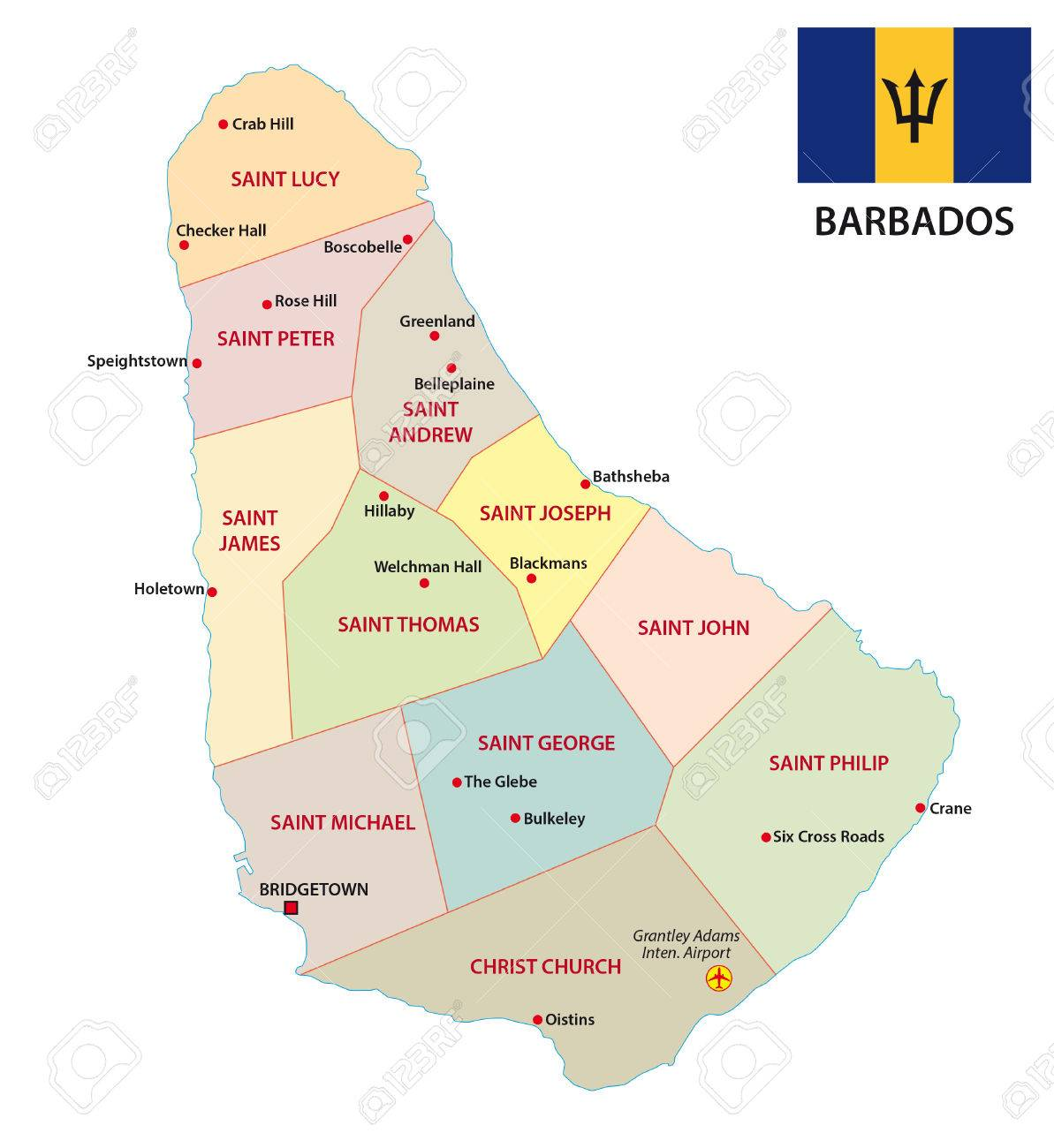 Barbados Administrative And Political Vector Map With Flag Royalty