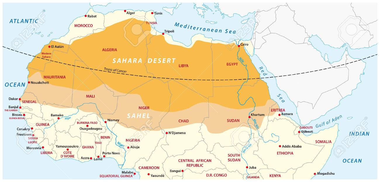Map Of The Sahara Desert And Sahel Zone Royalty Free Cliparts