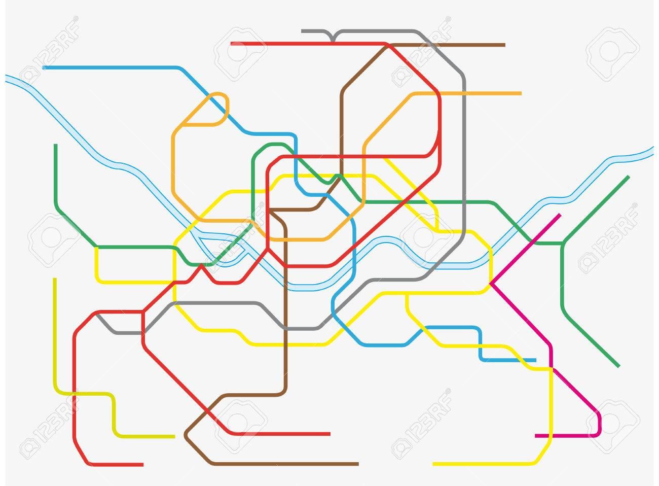 カラフルなソウル首都圏の地下鉄路線図のイラスト素材ベクタ Image
