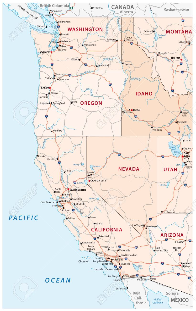 Roads, political and administrative map of the Western United..