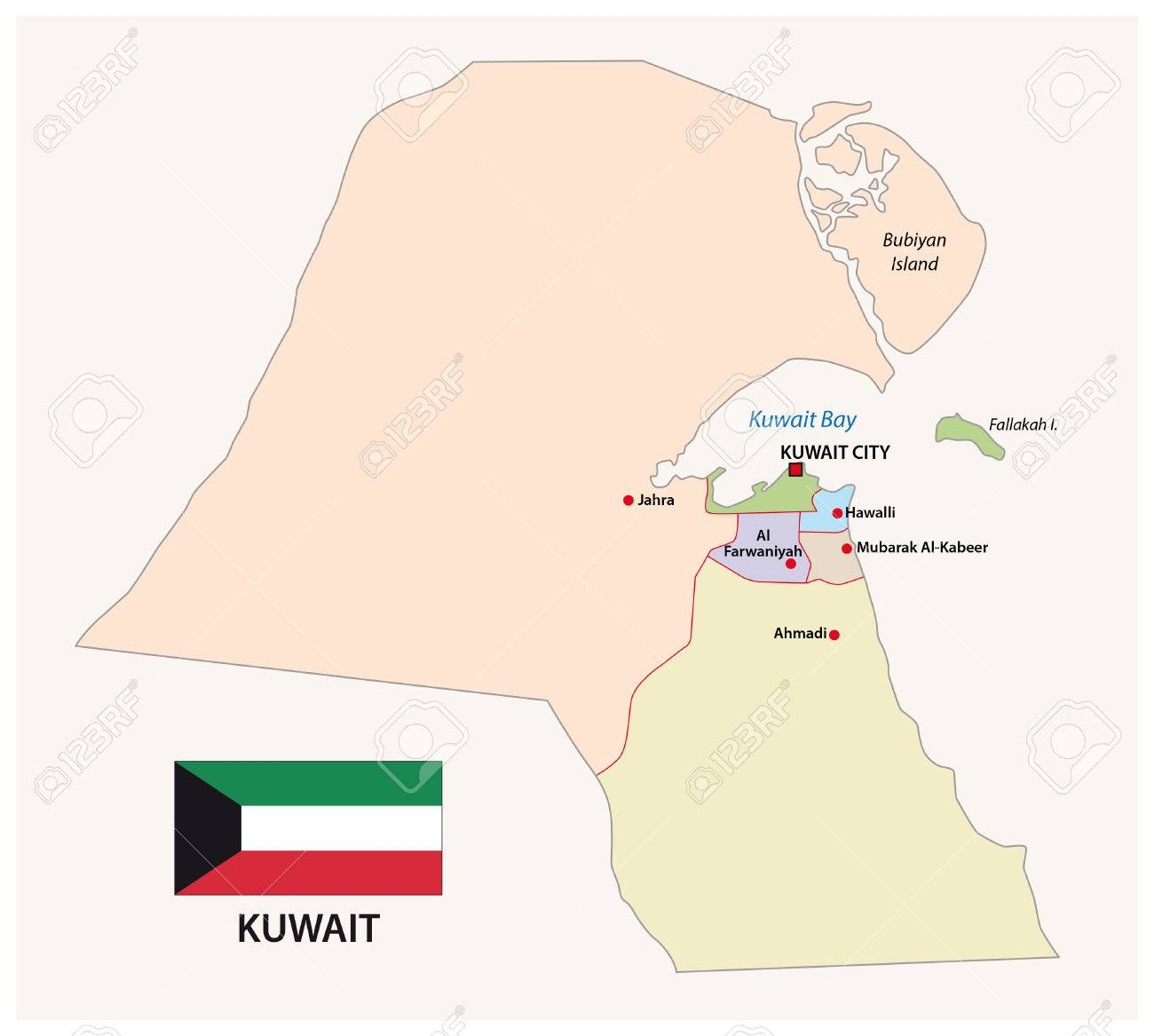 Kuwait Administrative And Political Map With Flag Royalty Free
