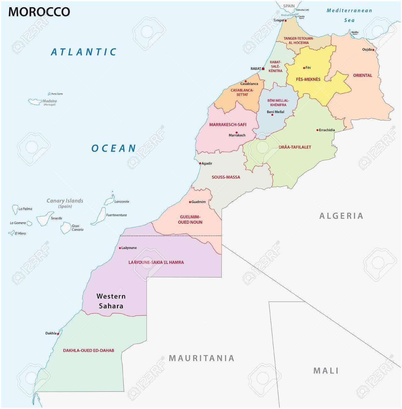 Nouvelle Carte Administrative Et Politique Des Douze Regions Du Royaume Du Maroc En 2015 Clip Art Libres De Droits Vecteurs Et Illustration Image 72368990