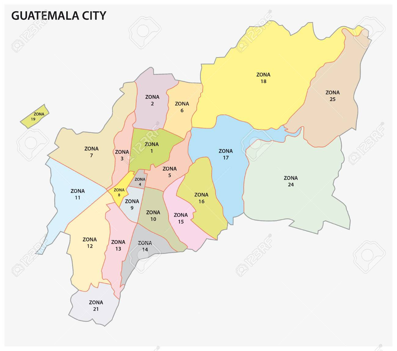 Administrative Political Map Of The Guatemalan Capital Guatemala