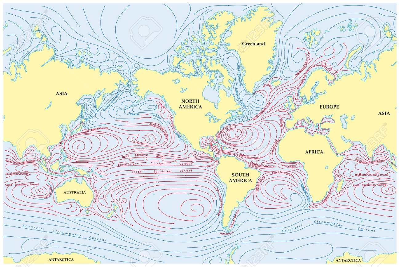 World Map With Currents.Vector World Map Of All Sea Currents Royalty Free Cliparts Vectors