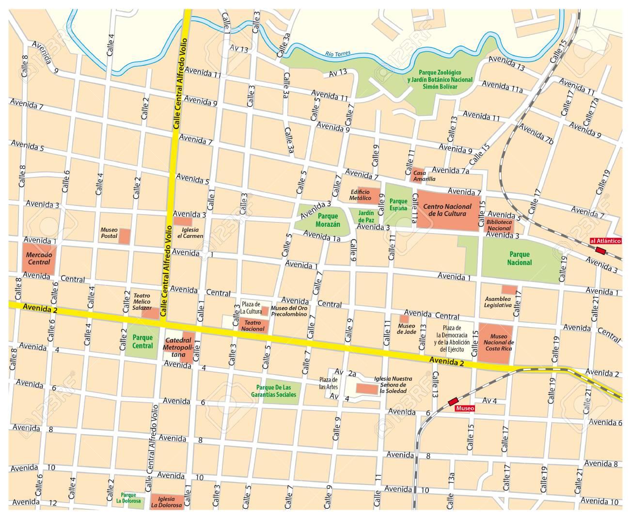 City map of downtown San Jose, Costa Rica