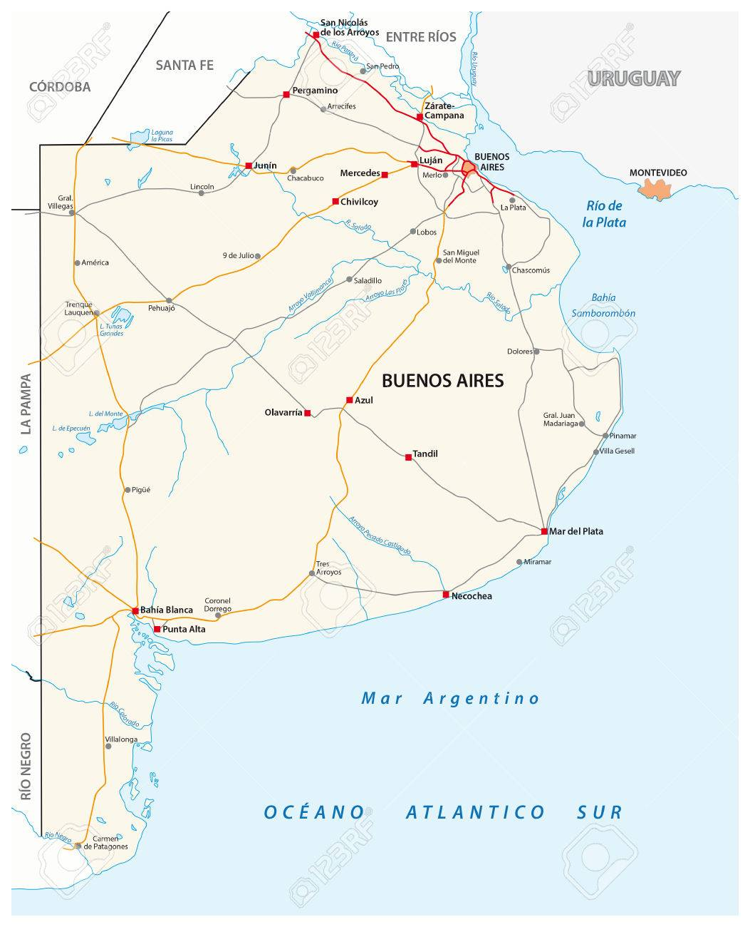 Road Map Of The Argentine Province Of Buenos Aires Royalty Free