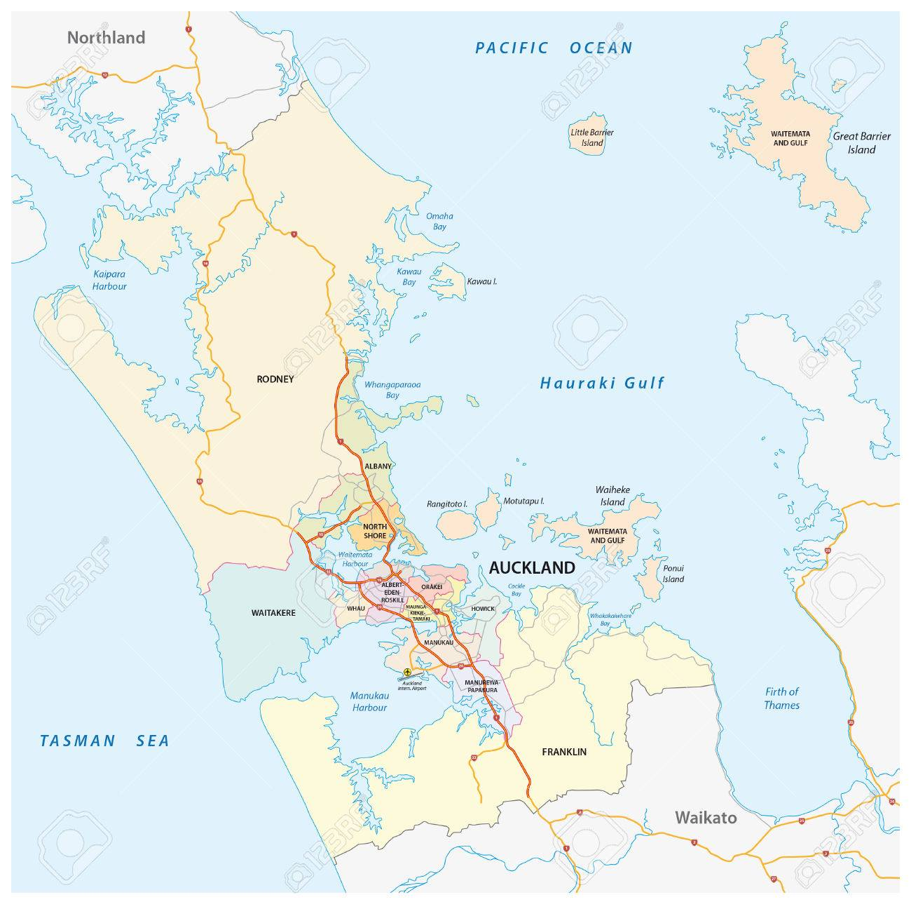 Political Map Of New Zealand.Administrative And Political Map Of The New Zealand City Auckland