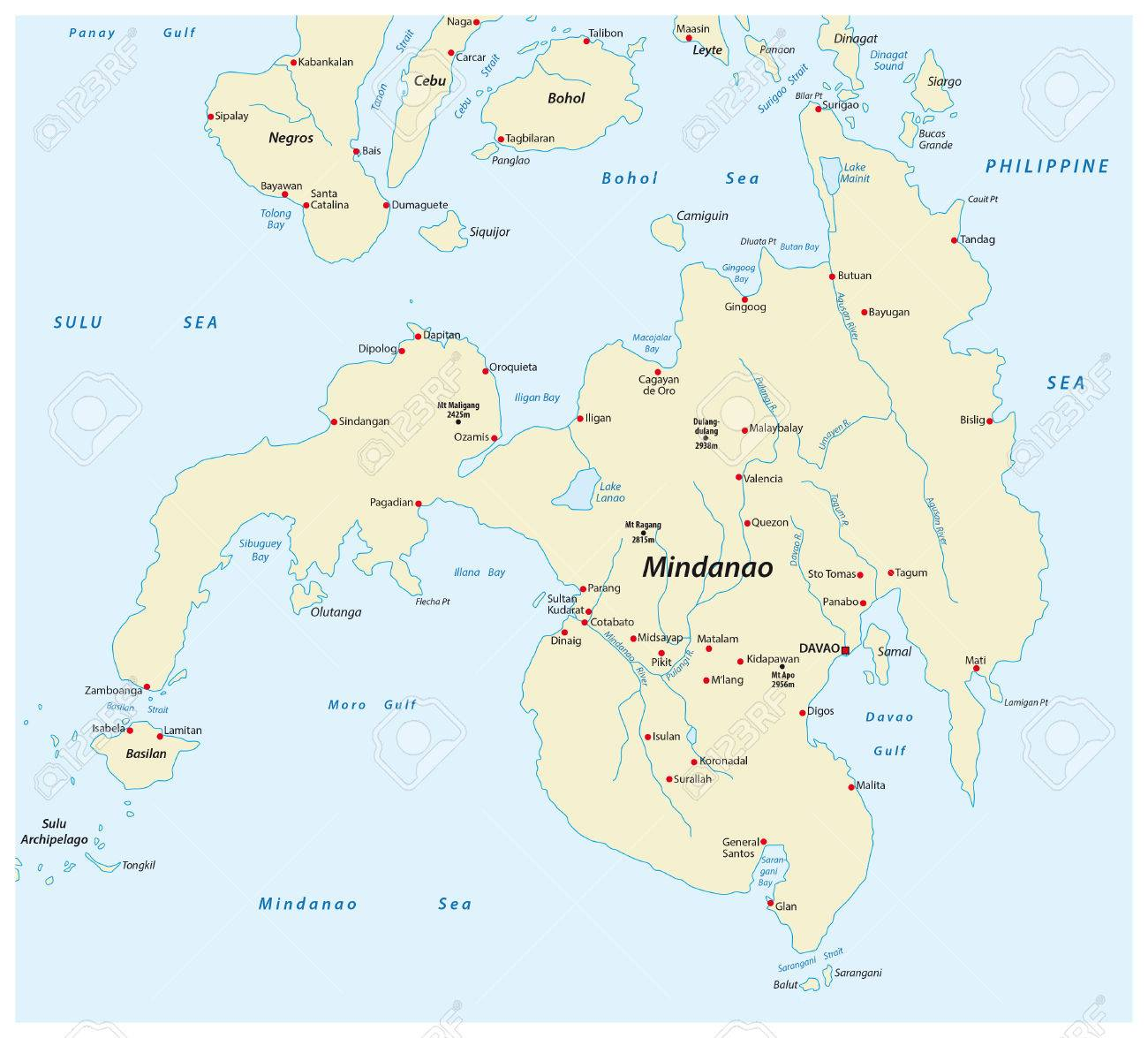 Map Of The Second Largest Philippine Island Mindanao Royalty Free