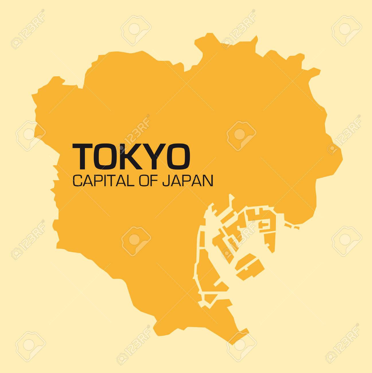 Simple Outline Map Of The Japanese Capital Tokyo Royalty Free