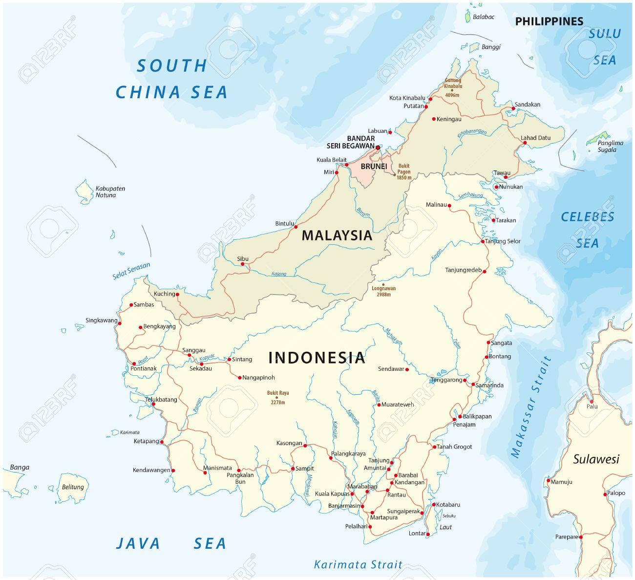 Vector road map of island borneo kalimantan royalty free cliparts vector vector road map of island borneo kalimantan gumiabroncs Image collections
