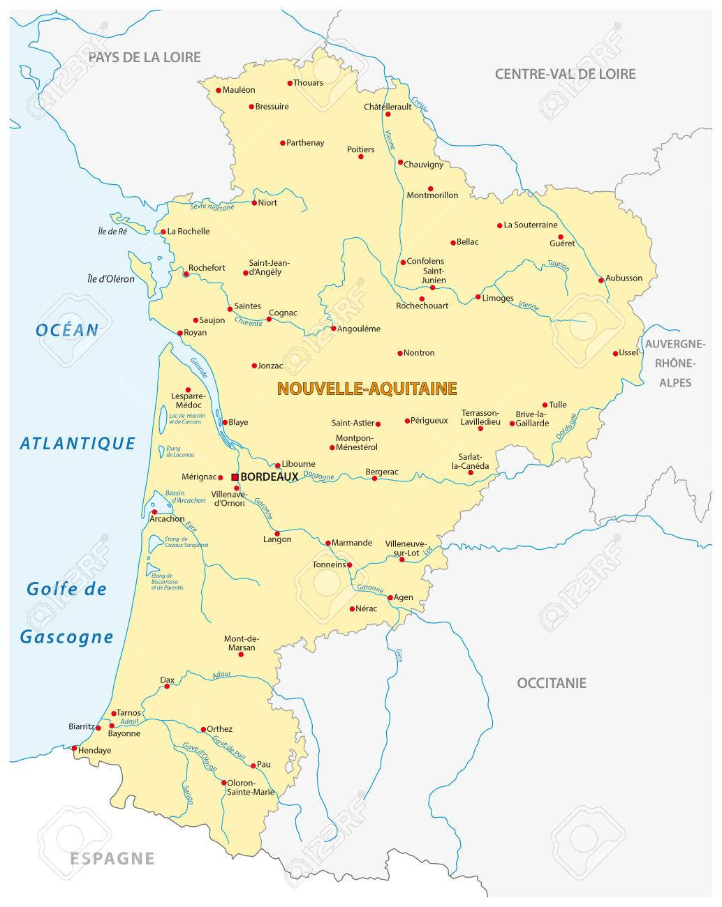 Map Of The New French Region Grand Est In French Language Royalty ...