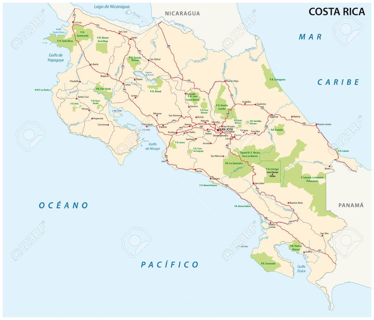 nationalparks costa rica karte Costa Rica Straße Und Nationalpark Karte Lizenzfrei Nutzbare