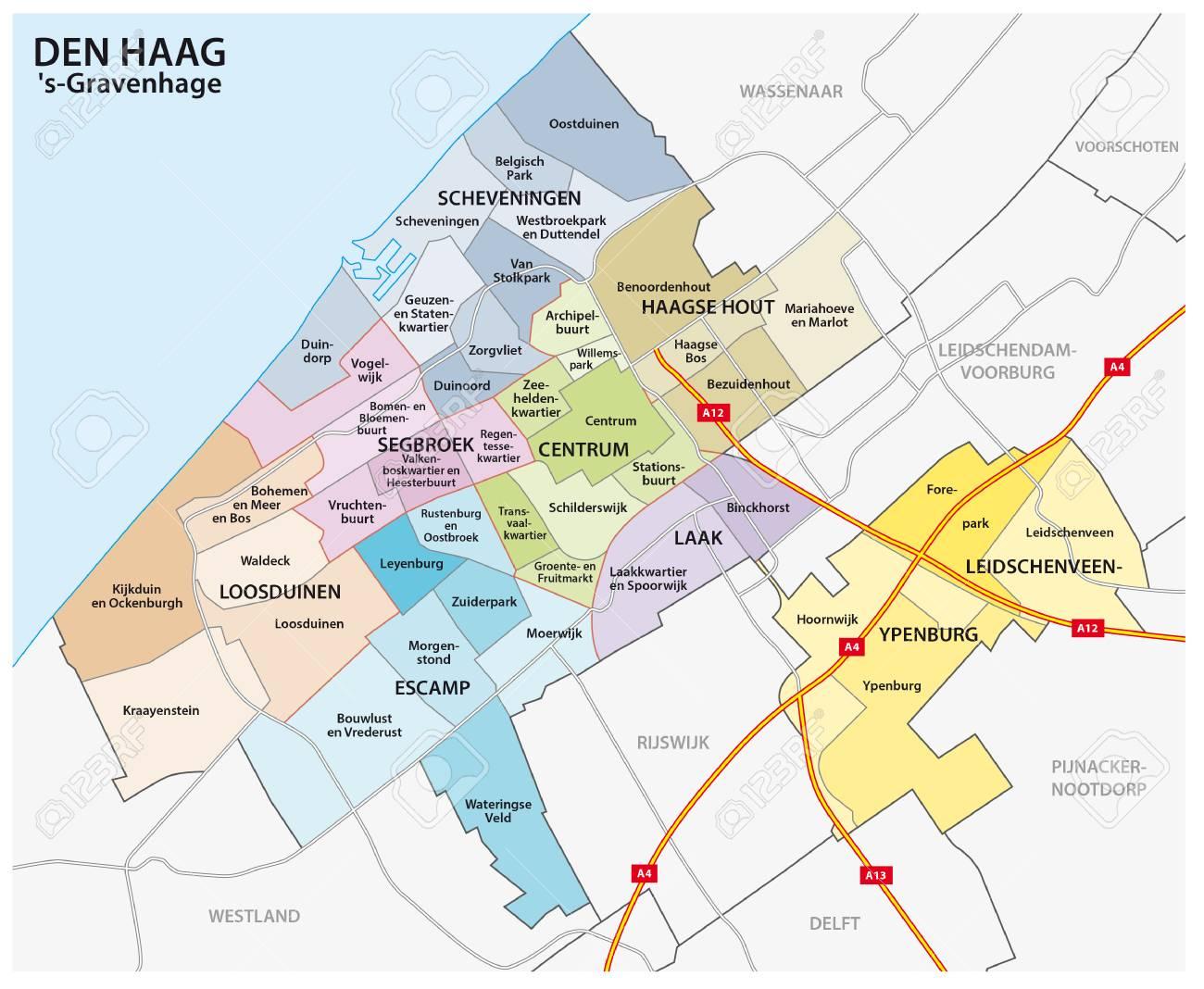 Olanda Cartina Politica.Vettoriale Mappa Amministrativa E Politica Della Citta Olandese L Aia Image 82944908