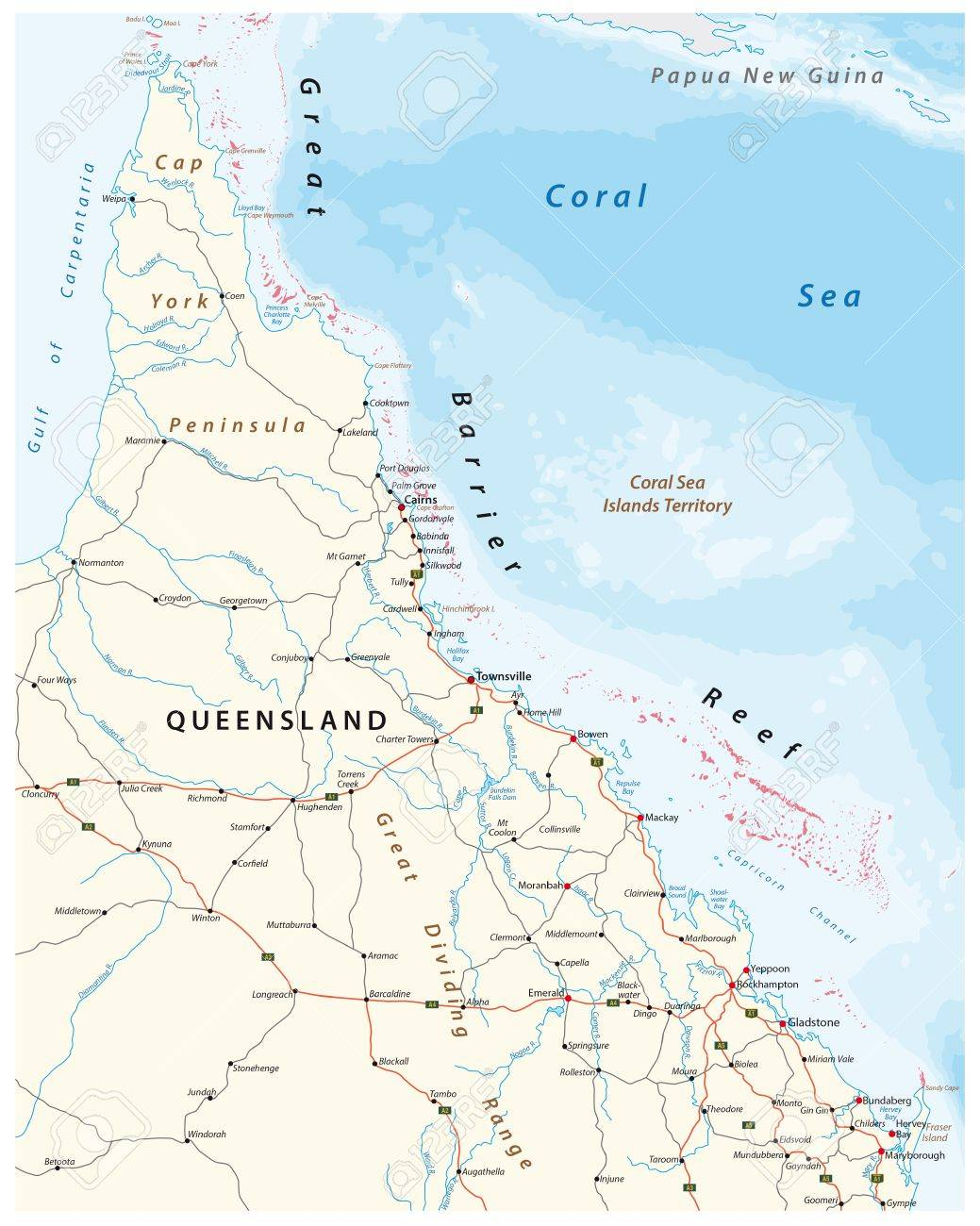 Queensland Australia Map.Road Map Of The Cap York Peninsula With The Great Barrier Reef