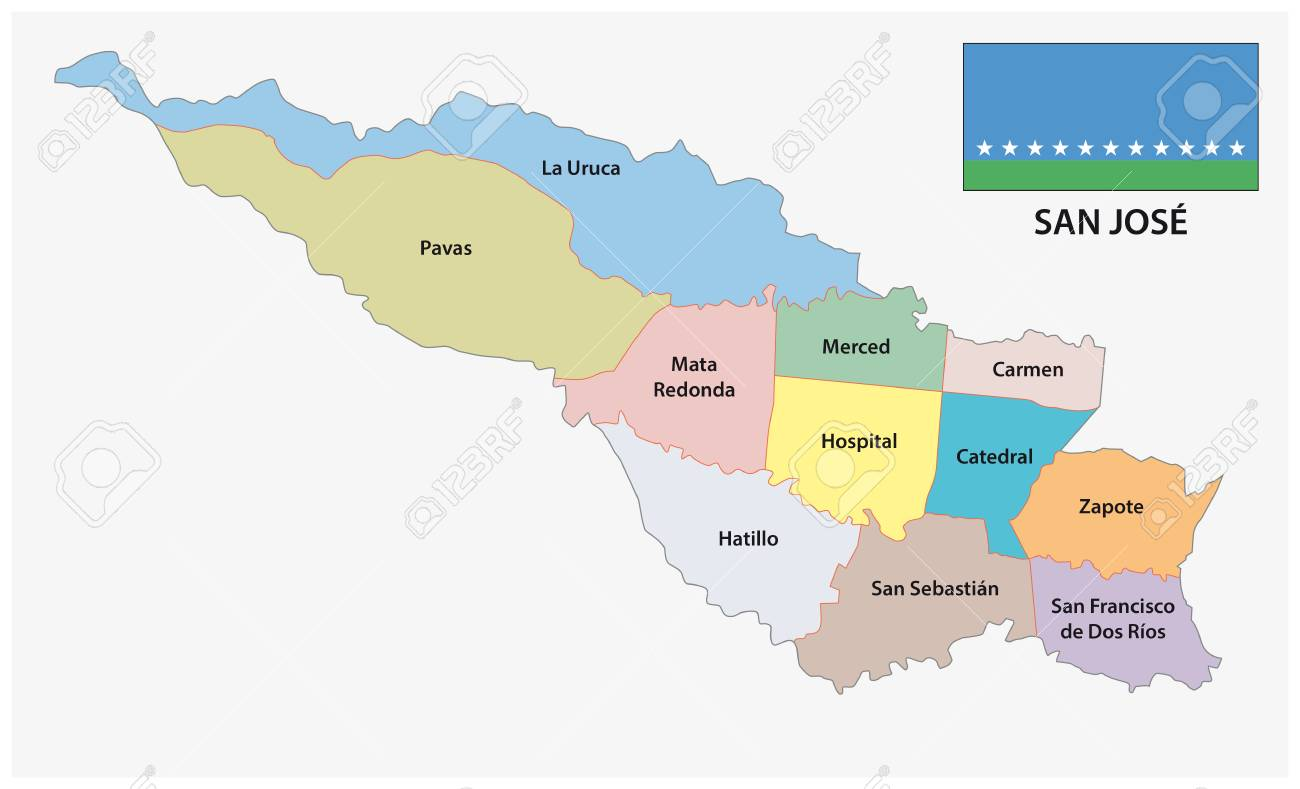 Administrative and political map with flag of San Jose, Costa..