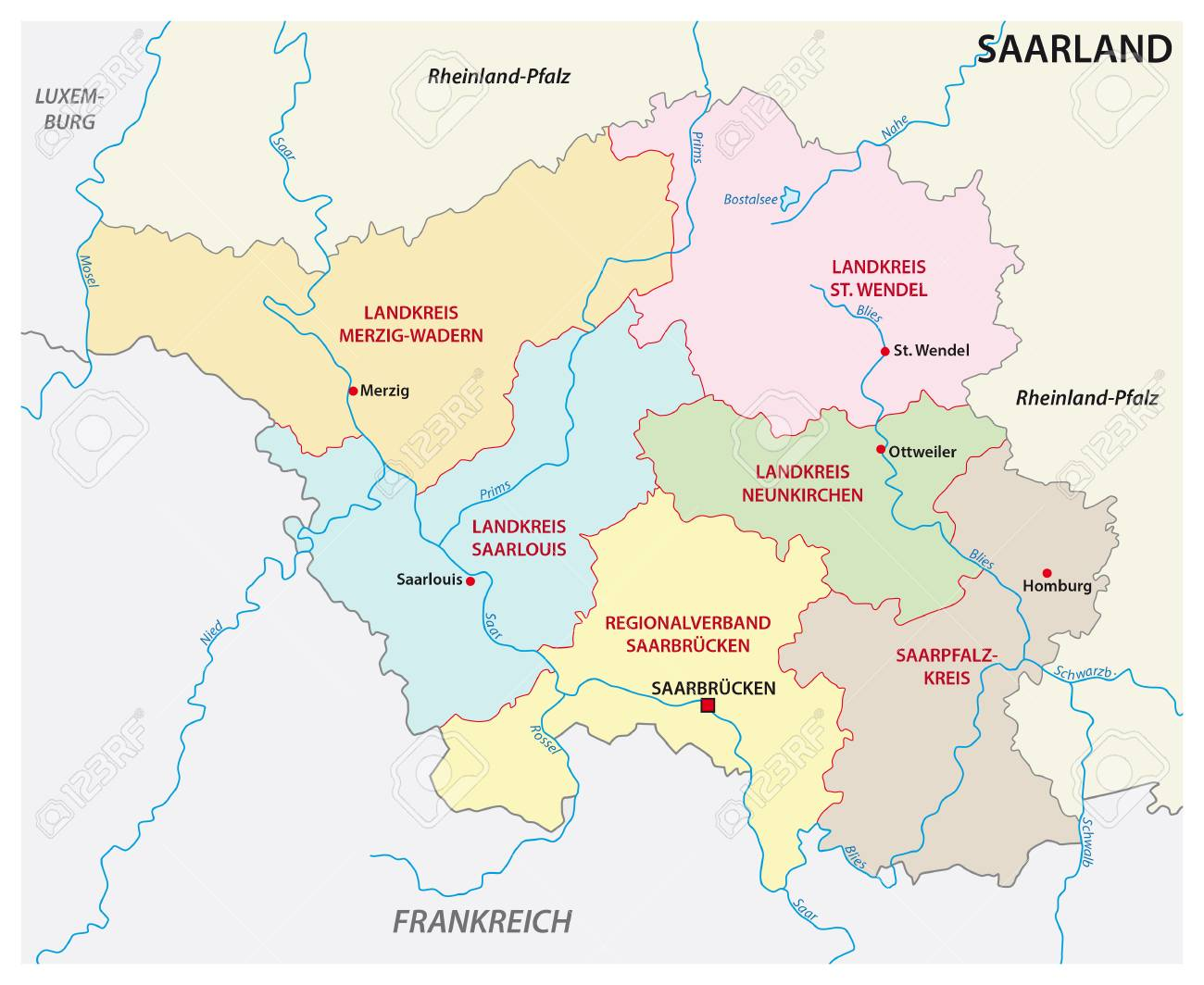 Administrative And Political Map Of The State Of Saarland In
