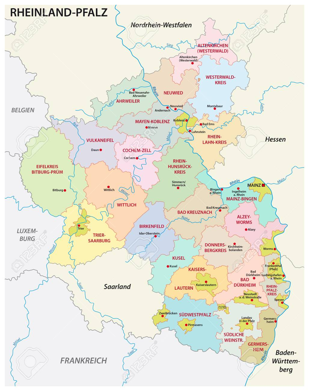 Administrative And Political Map Of The State Of Rhineland ...