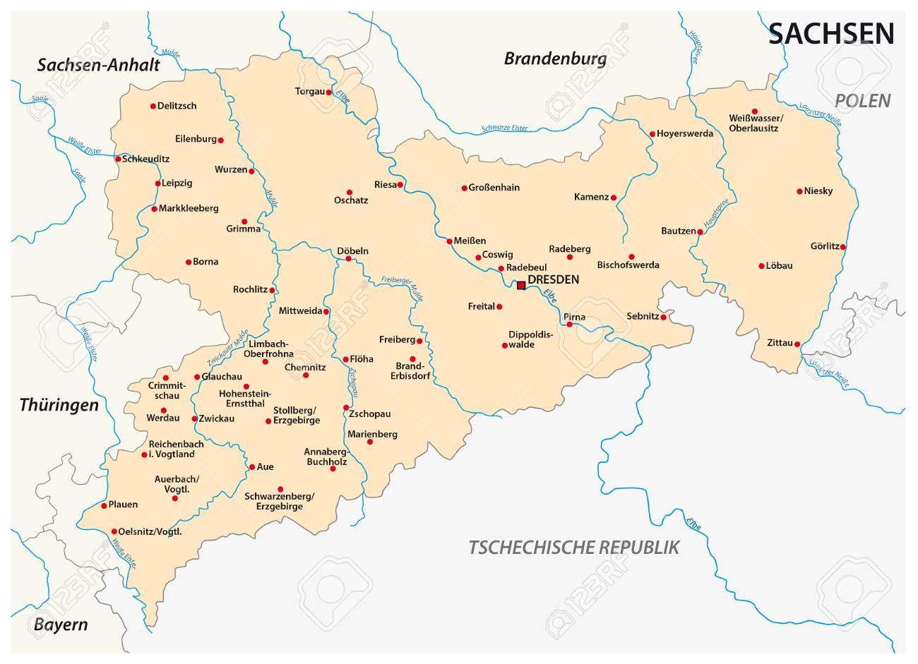 Bundesland Karte Mit Städten.Stock Photo