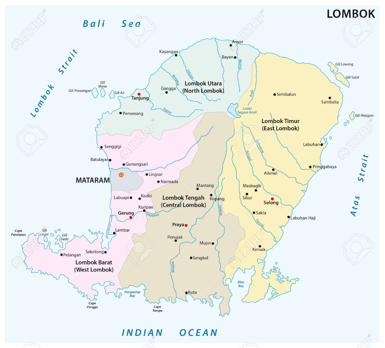 Lombok Administrative And Political Map Royalty Free Cliparts