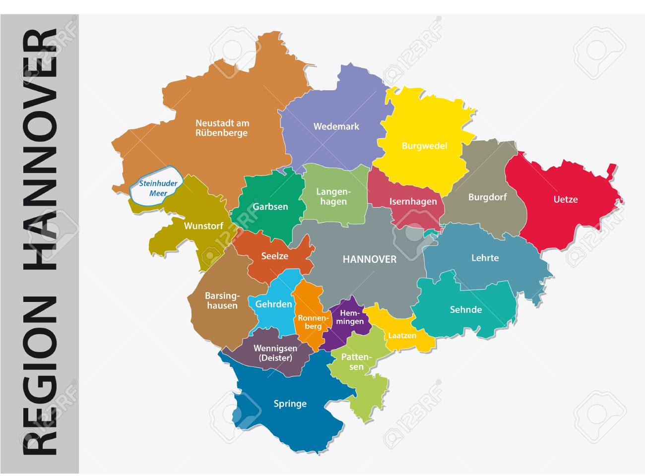 Administrative And Political Map Of Hannover Region In German ...