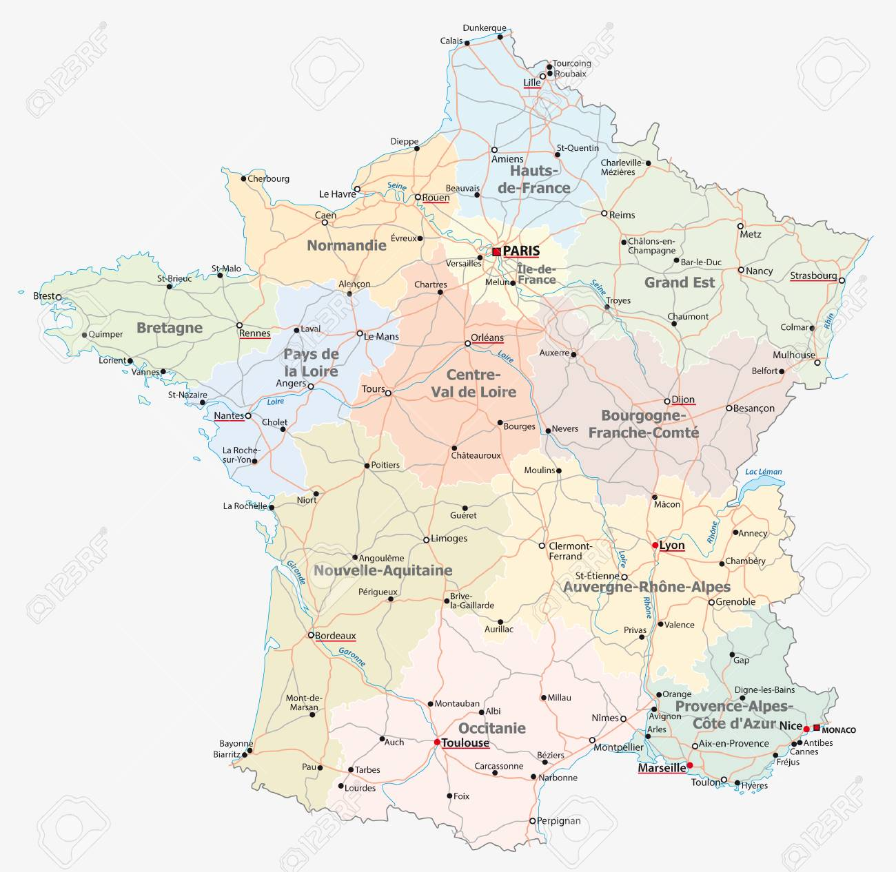 Brive France Map.France Road Administrative And Political Vector Map Royalty Free