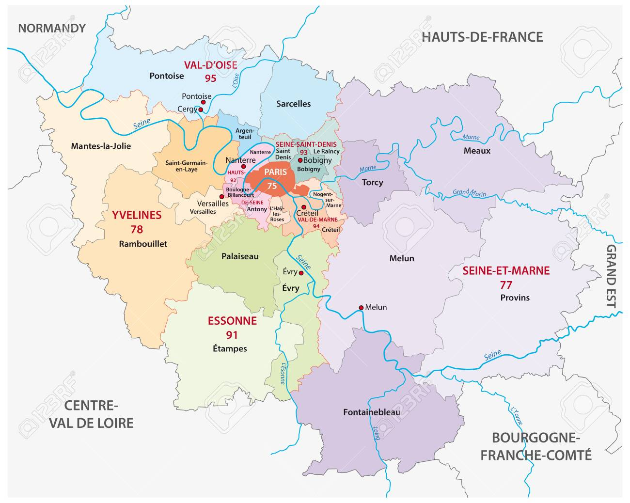 Map Of France Political.New Ile De France Administrative And Political Vector Map France
