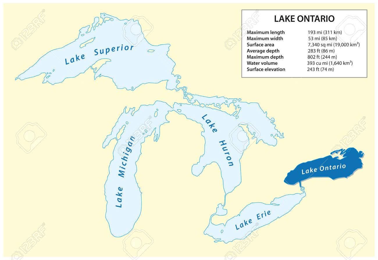 Information Vector Map Of Lake Ontario In North America Royalty Free ...