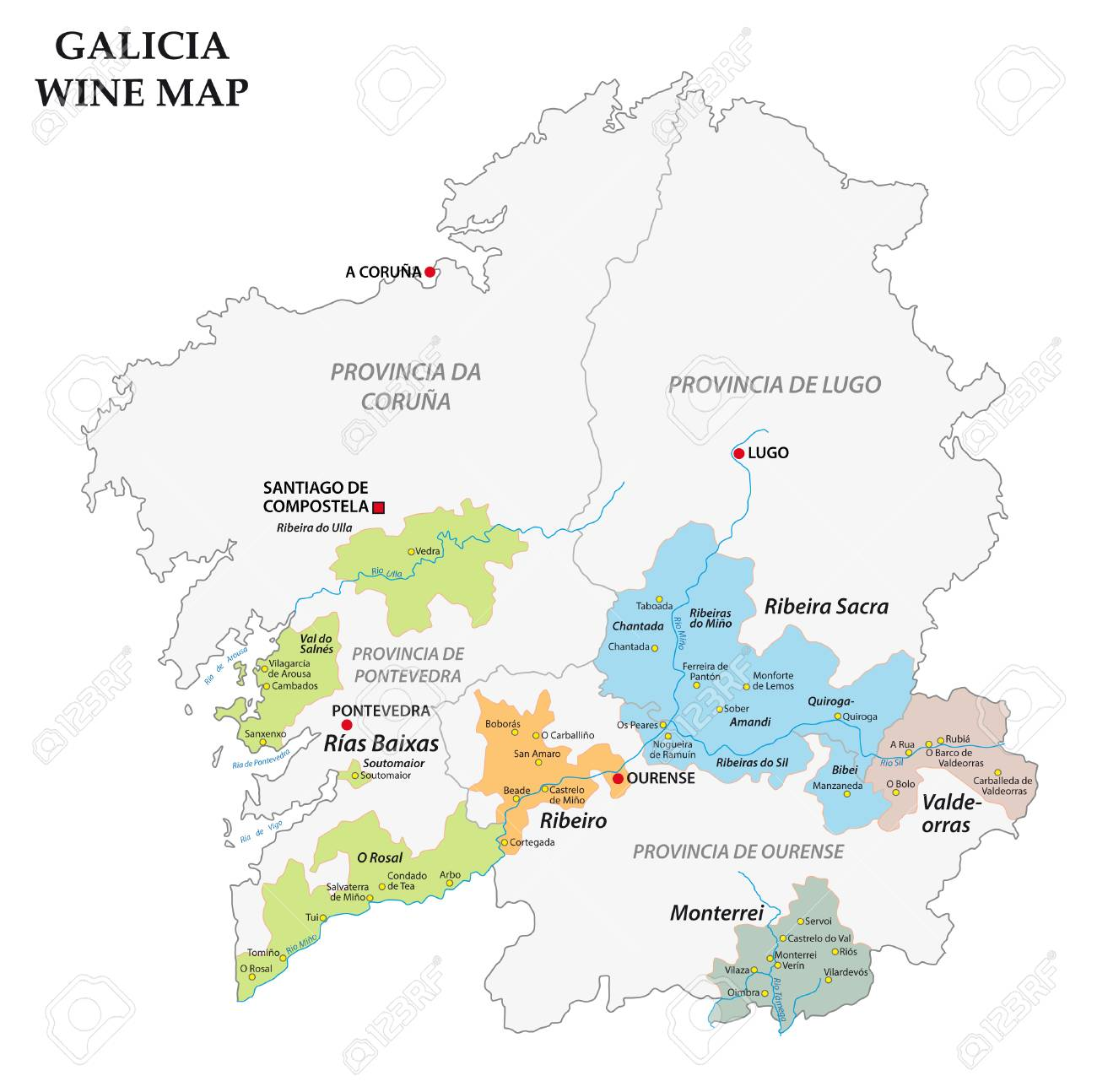 Map Of Spain Vineyards.Galicia Spain Vector Map Of The Vineyards