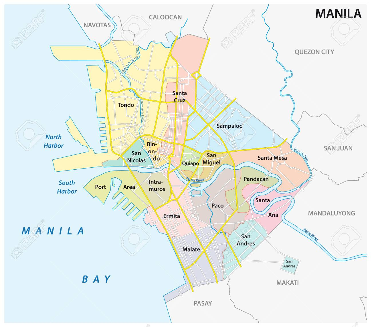 Manila Administrative Political And Road Map Philippines Royalty
