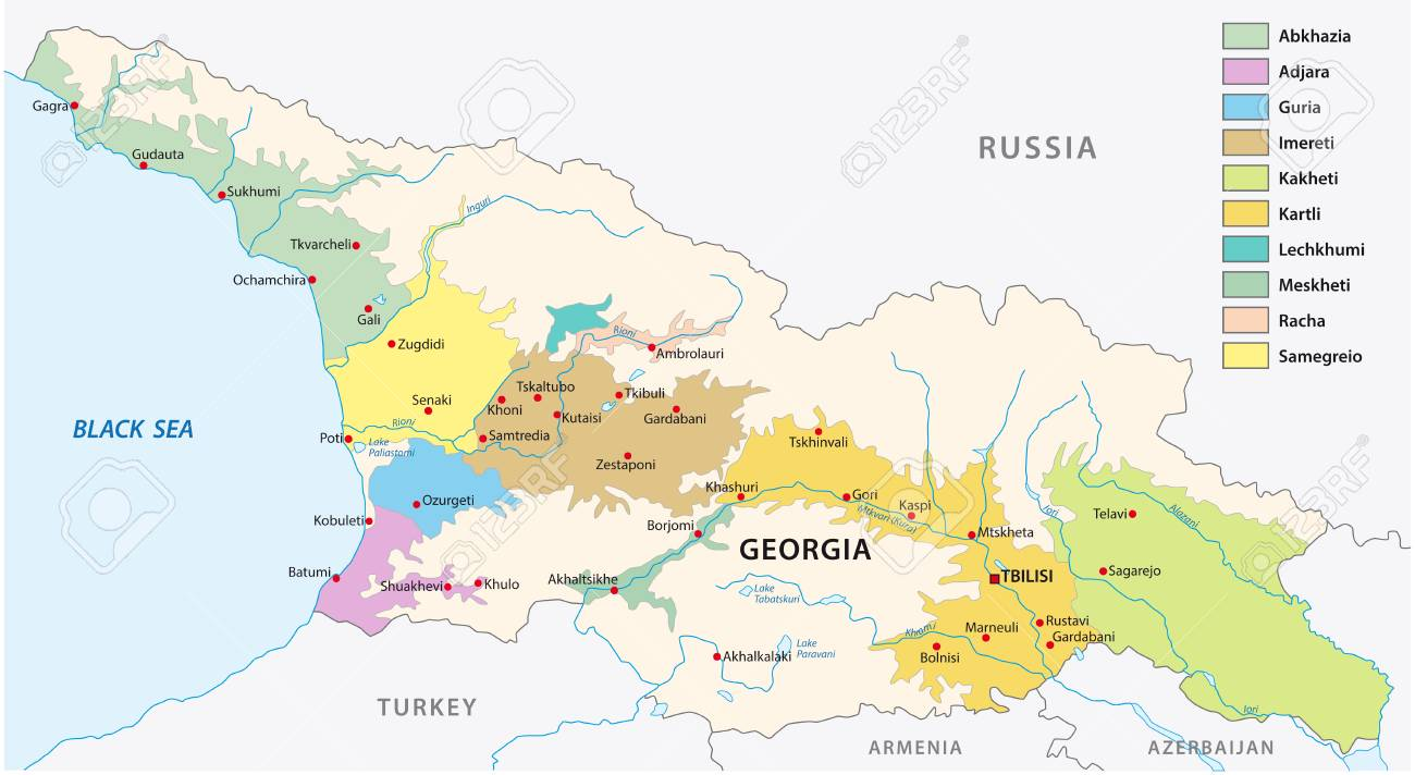 Wine Producing Regions Of Georgia Map Royalty Free Cliparts