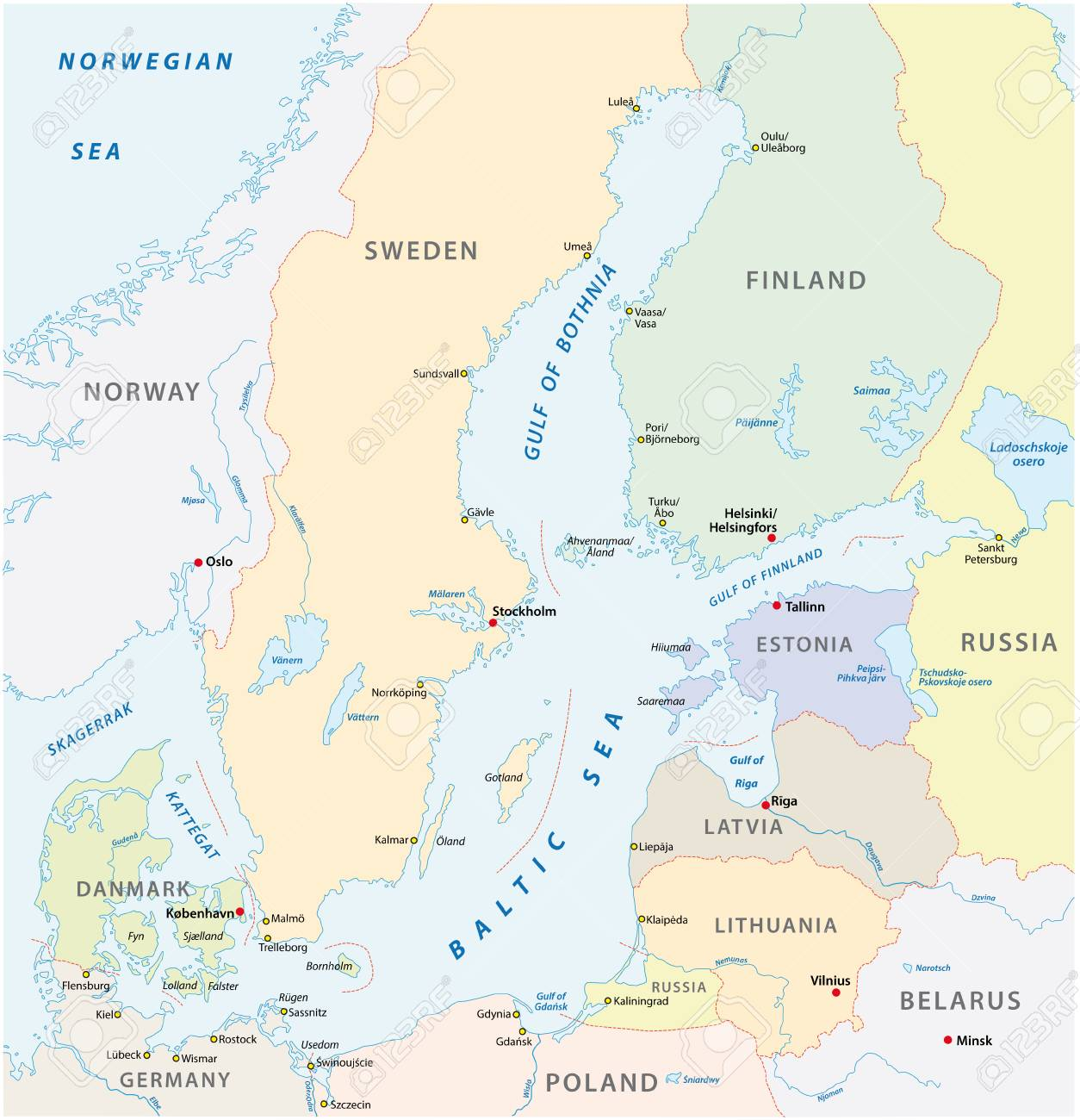 The Detailed Baltic Sea Area Vector Map. Lizenzfrei Nutzbare ...