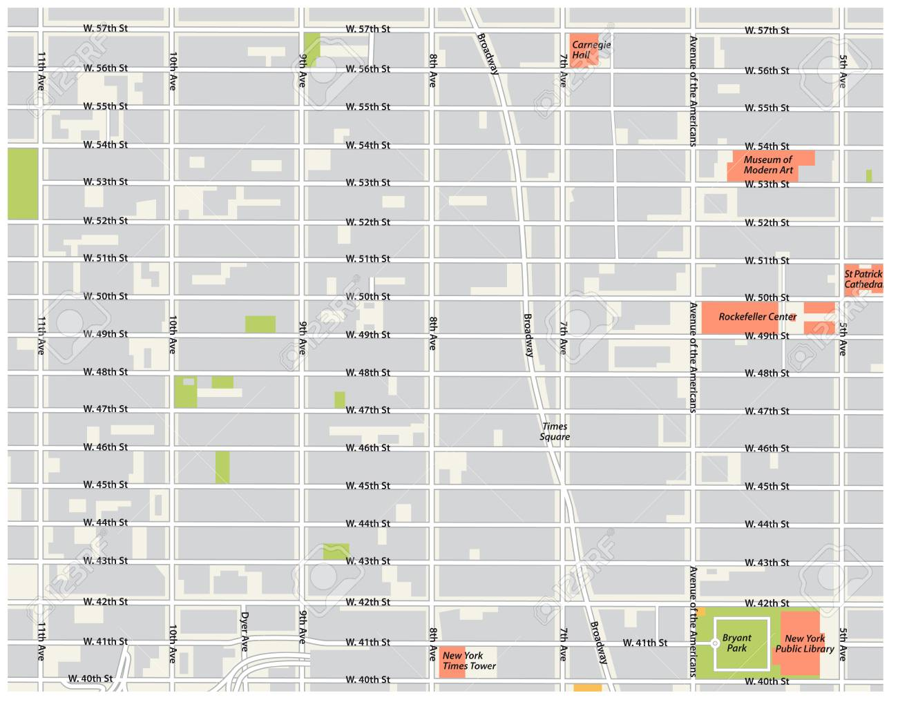 image about Map of Midtown Manhattan Printable known as fresh york metropolis, theater district, midtown manhattan vector map.