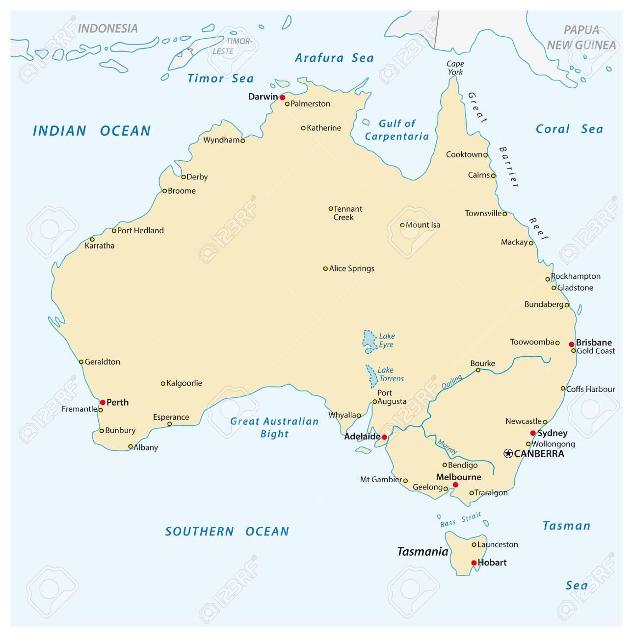 Australia Map Hobart.A Simple Vector Outline Map Of Australia