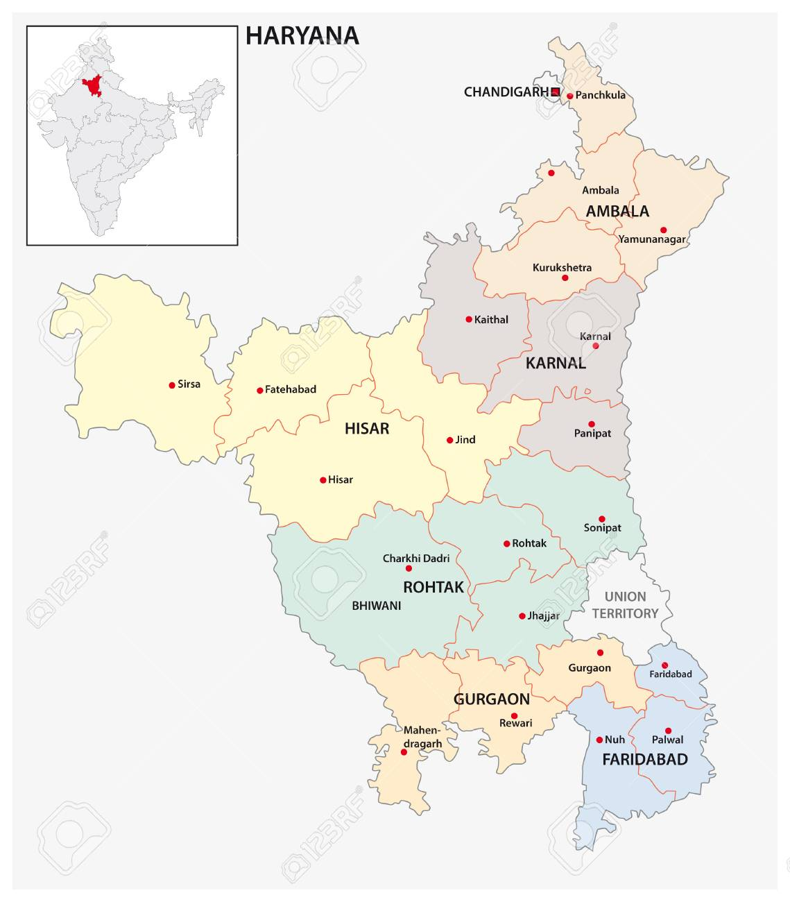 Haryana India Map.Administrative And Political Map Of Indian State Of Haryana