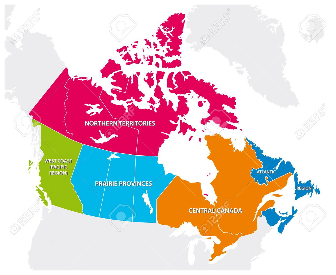 Map Of The Regions Of Canada.Outline Map Of The Five Canadian Regions