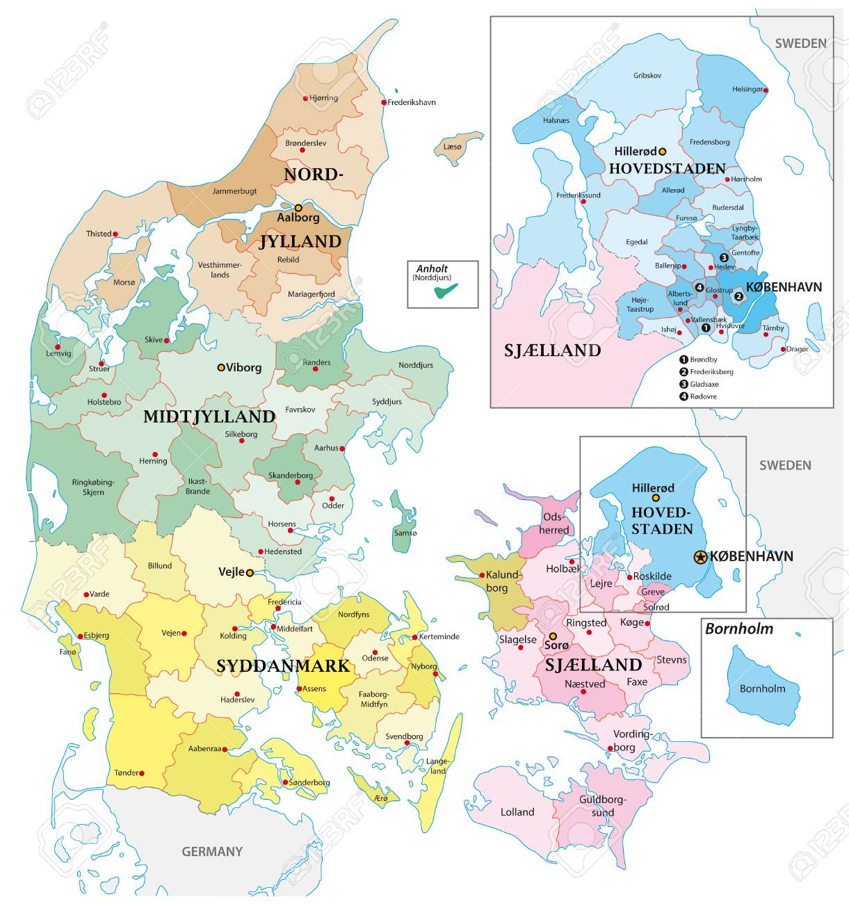 Administrative and political vector outline map of the Kingdom of Denmark - 126413083