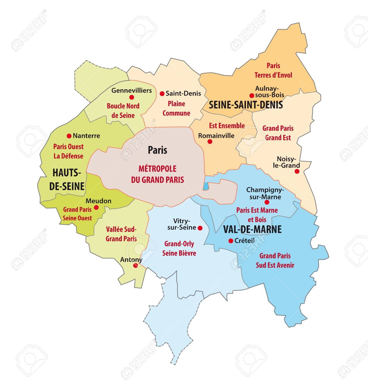 Administrative Map Of The Municipal Association In The Ile De France Royalty Free Cliparts Vectors And Stock Illustration Image 117797485