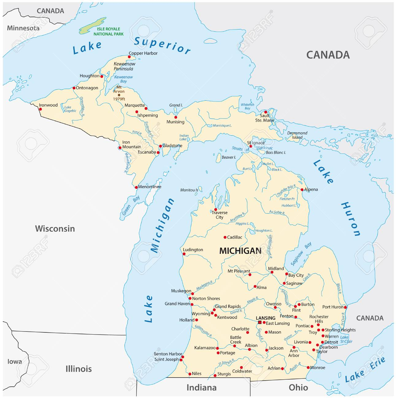 Vector Map of the U.S. state of Michigan - 126162217