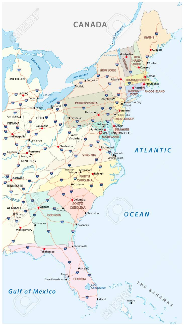 Vector map of the East Coast, United States